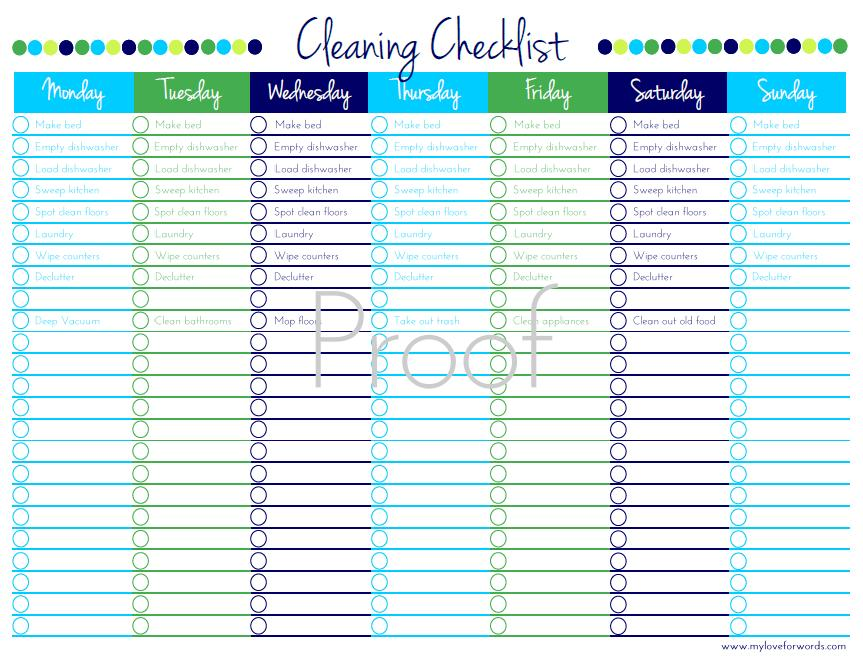 Cleaning Checklist – Cleaning Checklist