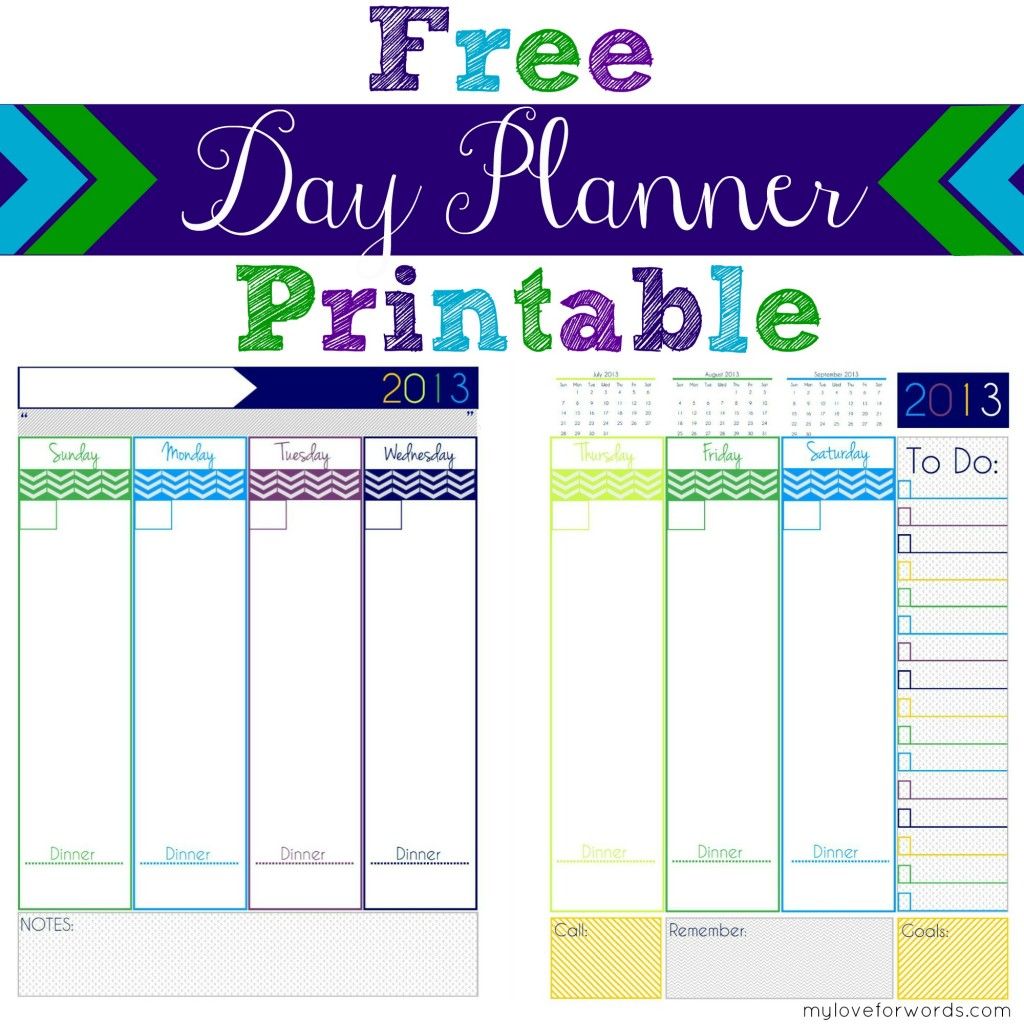 2013 Free Day Planner Printable