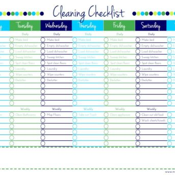Cleaning Checklist with tasks