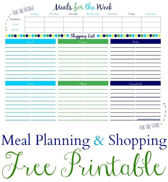 Meal Plan & Shopping List Printable