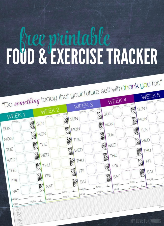Free Printable Food and Exercise Tracker
