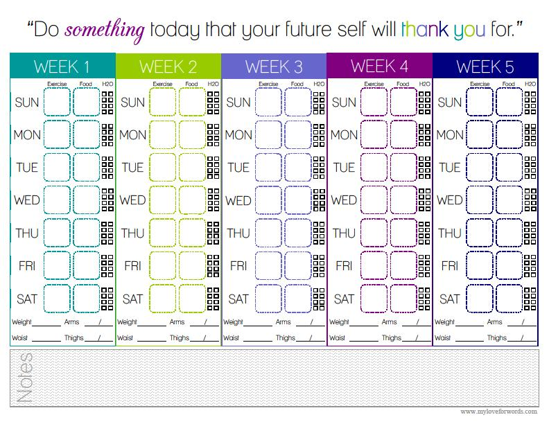 Food & Exercise Tracking Printable