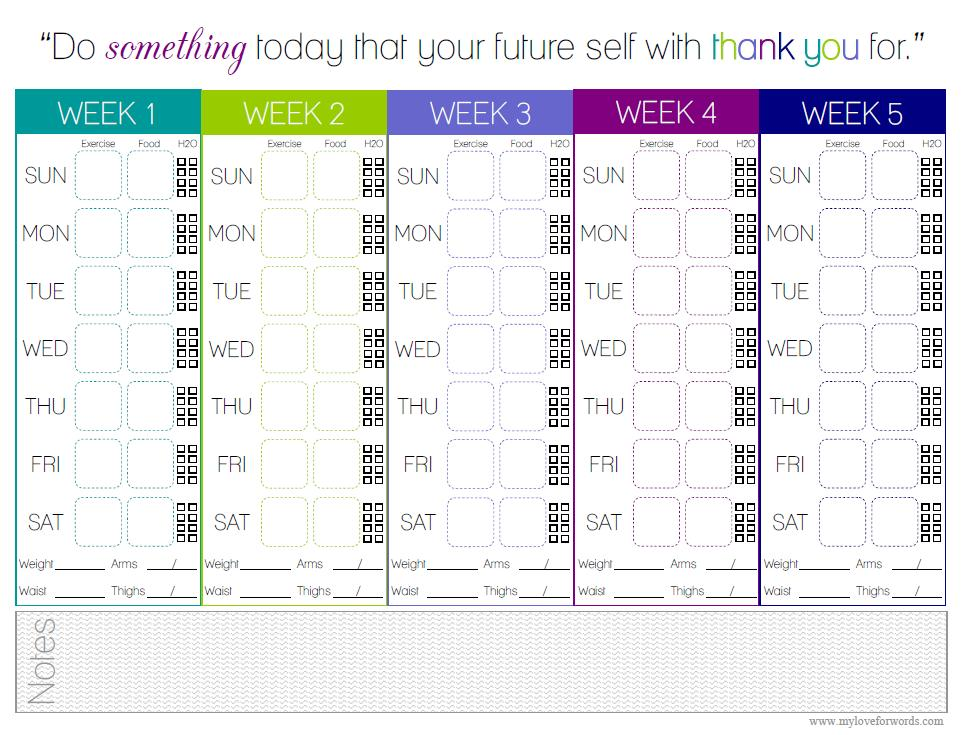 Monthly Exercise Log Food & exercise tracker