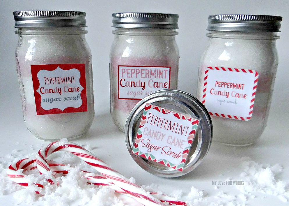 Peppermint Candy Cane Sugar Scrub diy recipe and 5 free printable labels