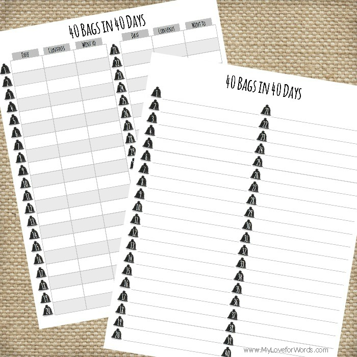 Handy image within 40 bags in 40 days printable