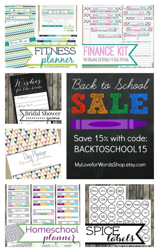 Back to School Sale MyLoveforWordsShop.etsy.com
