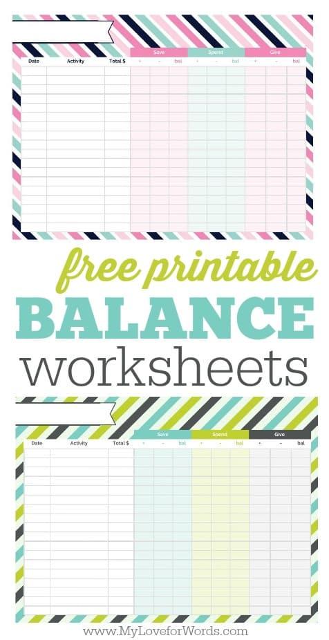 printable checkbook balance sheet