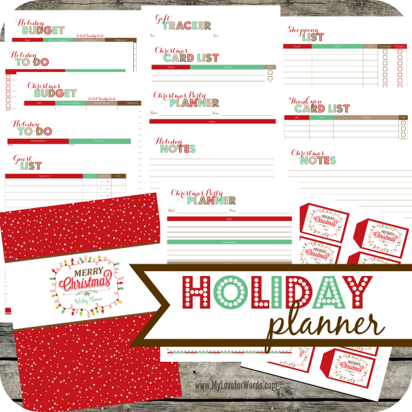 Cute printable planner for organizing all of the holiday related details. Party planners, to do and Christmas card lists, budget worksheets and more!