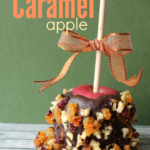 "Easy DIY Gourmet Caramel Apple and free printable ""Giving Thanks"" tag. Great hostess gift for Thanksgiving!"