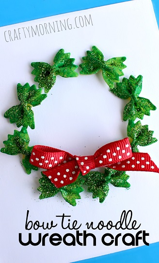 http://www.craftymorning.com/bow-tie-noodle-wreath-craft-christmas-card-idea/