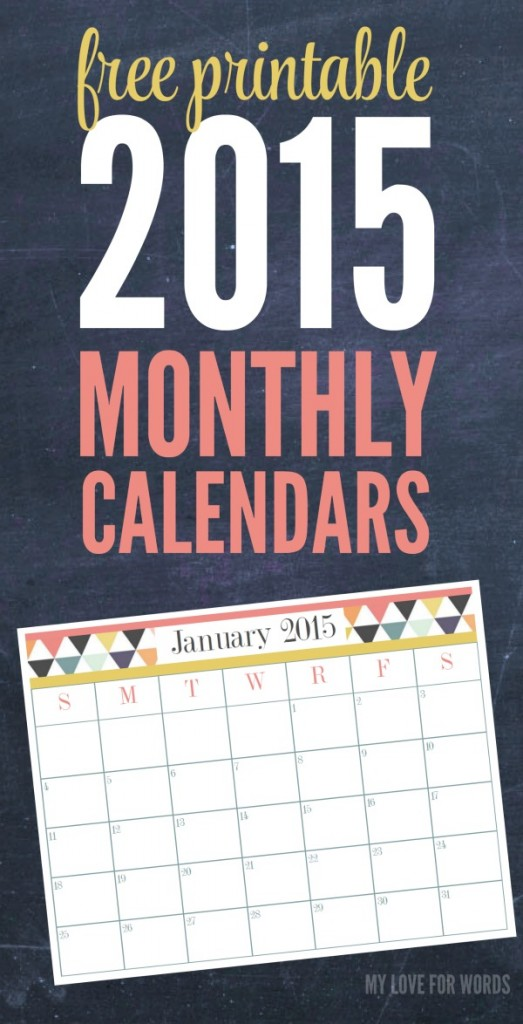 free printable 2015 monthly calendars