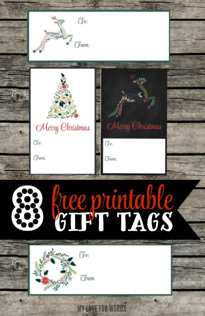 8 free printable Christmas gift tags