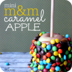 Fun and playful M&M covered caramel apples are perfect for a party or special occasion. Kids literally eat them up!