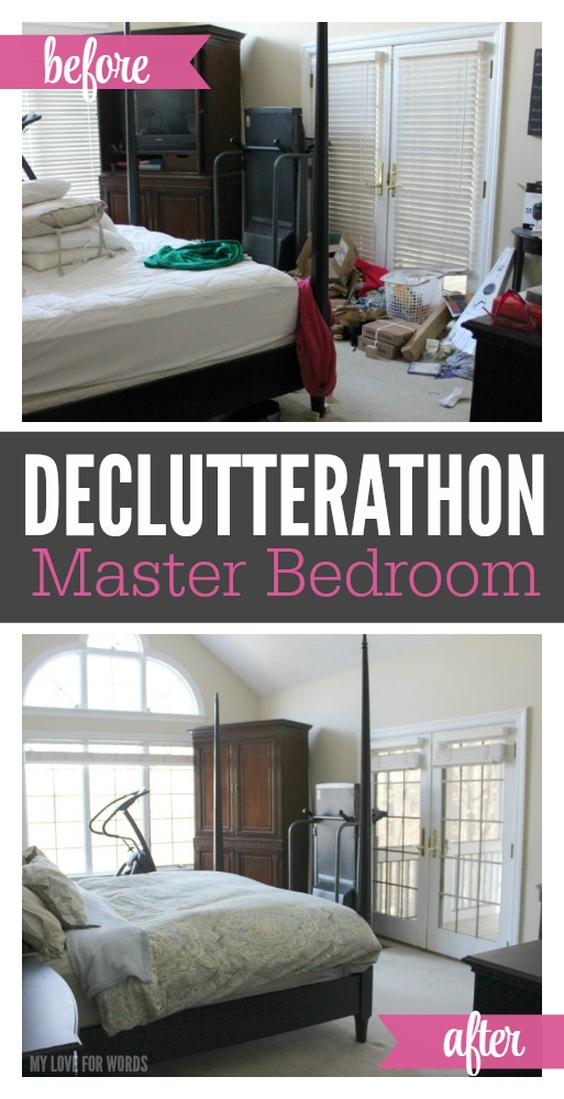 Declutterathon Master Bedroom before and after