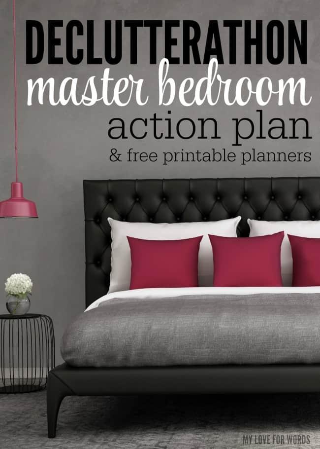 Declutterathon master bedroom action plan 1