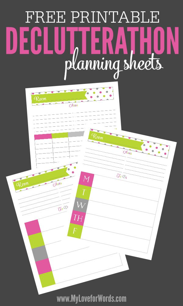Free Printable Declutterthon planning sheets