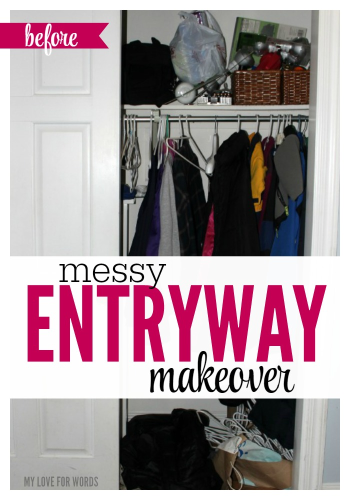 The space between our garage and kitchen was a complete mess, and it needed some serious organization. Watch this entryway go from a cluttered nightmare to nicely organized and functional. The after pictures look great!