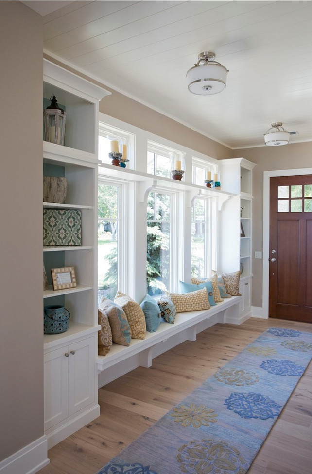 Entryway storage solutions for Foyer seating area ideas