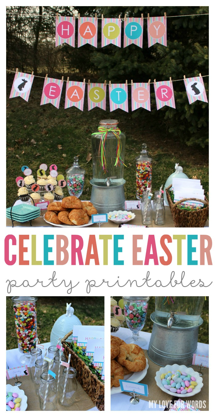 Celebrate Easter collage party printables with watermark