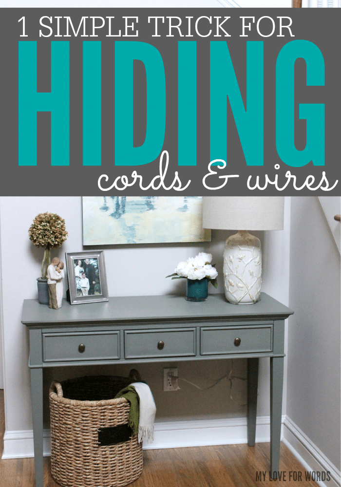 Super simple and inexpensive trick for hiding ugly cords and wires. Great idea!