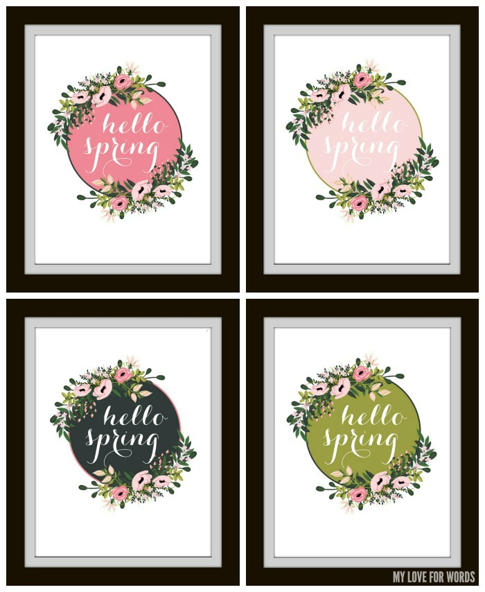 hello spring free printables collage and watermark