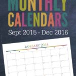 Love these free printable 2016 Monthly Calendars! It includes the end of 2015 too!