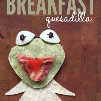Make breakfast a little more fun with this Kermit the Frog Breakfast Quesadilla recipe. It can also be a fun snack, lunch, or dinner, and the kids can even assemble it themselves!