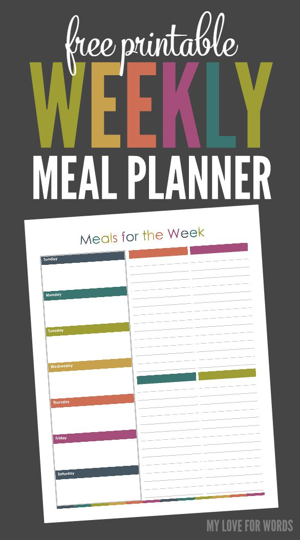 TOL free printable weekly meal planner vertical 2