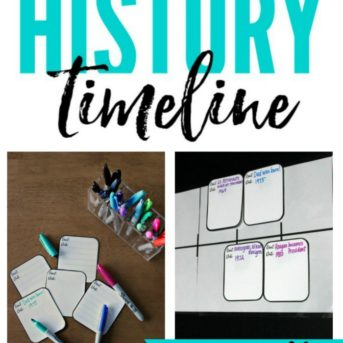 Easy diy tutorial for creating a history timeline as described in The Well Trained Mind. This post shares not only how to make a timeline but free printable timeline graphs and event cards that can be used for charting important people and events throughout history. Perfect for a classical education, classroom, homeschool room, or homeschooling family.