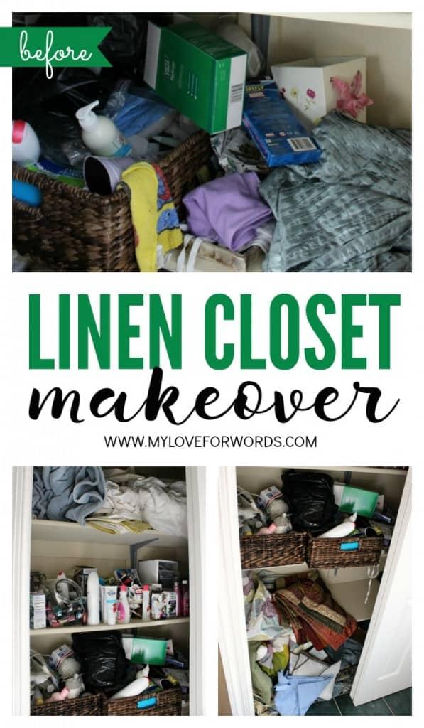 Linen closet makeover collage green 3