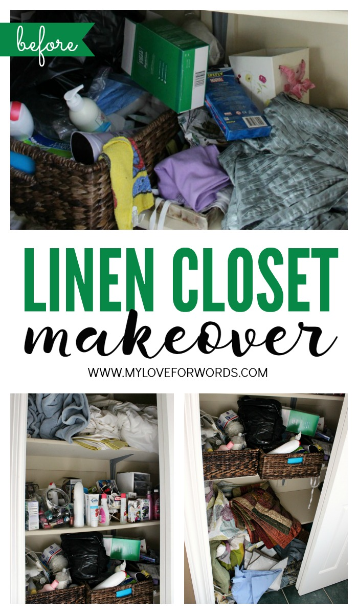 Linen closet makeover collage green 3