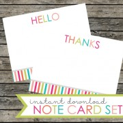 Striped hello and thank you cards