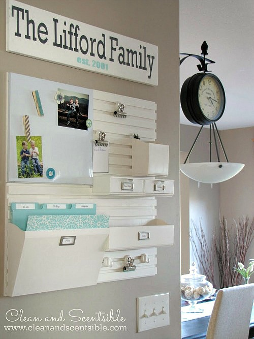 LOVE these ideas for creating a DIY family command center at home! It's the perfect way to keep everyone organized (including kids!) and running smoothly, and such a smart way to use wall space in the kitchen, entryway, or office. Customize it on the cheap with cute printables or framed artwork.