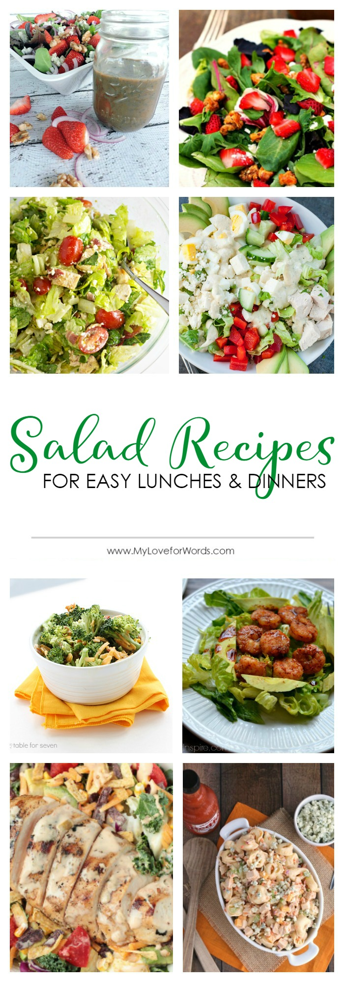 Salad recipes for easy lunches and dinners! The perfect solution for hot summer nights or when you're just too tired to cook. Also great for parties and bbq nights. Customize with your own ingredients like chicken, egg, pasta, fruit, or your favorite salad dressing. Healthy and delicious... it doesn't get better than that!