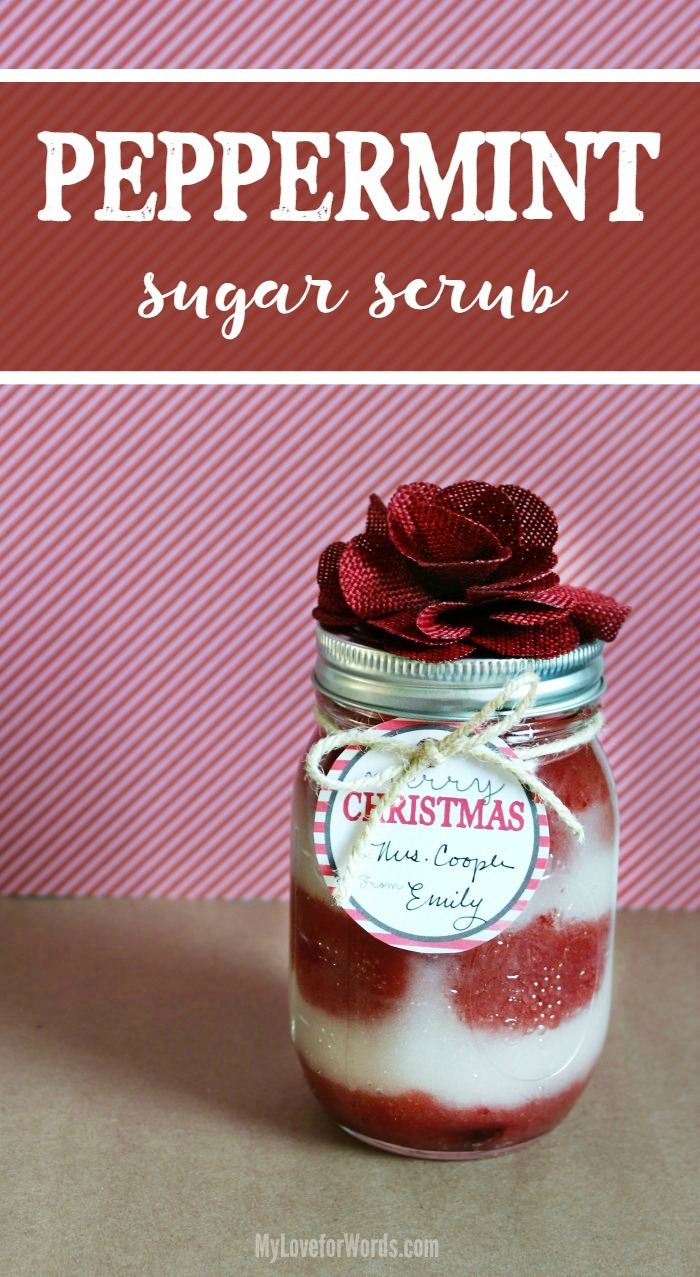 This super easy homemade peppermint sugar scrub recipe is the perfect diy gift for the holidays! It's a thoughtful but inexpensive gift and even includes two free printable Christmas gift tags! Such a great way to use peppermint essential oils!