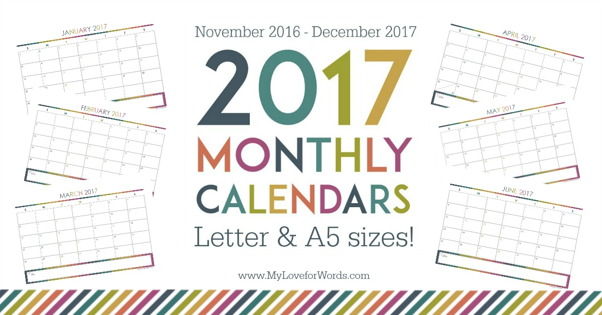 Planner Giveaway & Free Printable 2017 Monthly Calendars (new A5 size ...
