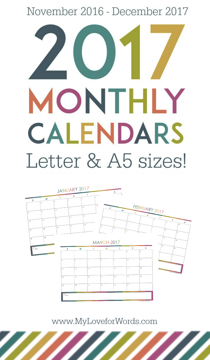 Love these FREE printable 2017 monthly calendars in both A5 AND Letter sizes!! Have your most organized year yet with these adorable monthly calendars and get your time, finances, meal planning, cleaning, organizing, passwords, goals, and more organized once and for all!