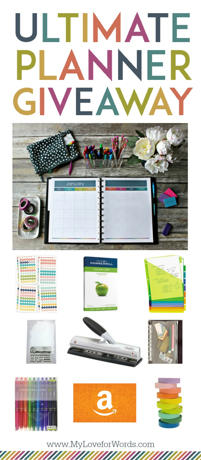 AWESOME GIVEAWAY to make 2017 your most organized year yet!! Beautiful printable planner in both A5 AND Letter sizes so you can organize your calendars, time, finances, meal planning, cleaning, organizing, passwords, goals, and more!! You'll also win an adjustable hole punch, planner stickers, ream of premium paper, organizing pouch, frixion erasable pens, tons of colorful washi tape, and a $25 Amazon giftcard to buy the perfect binders of your choice. Enter before November 29, 2016 for your chance to win!
