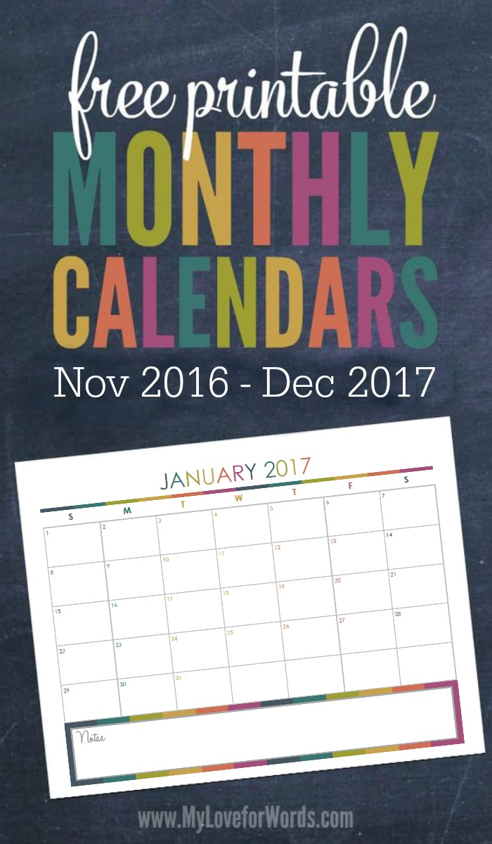 2017 monthly calendar free printables for your most organized year yet
