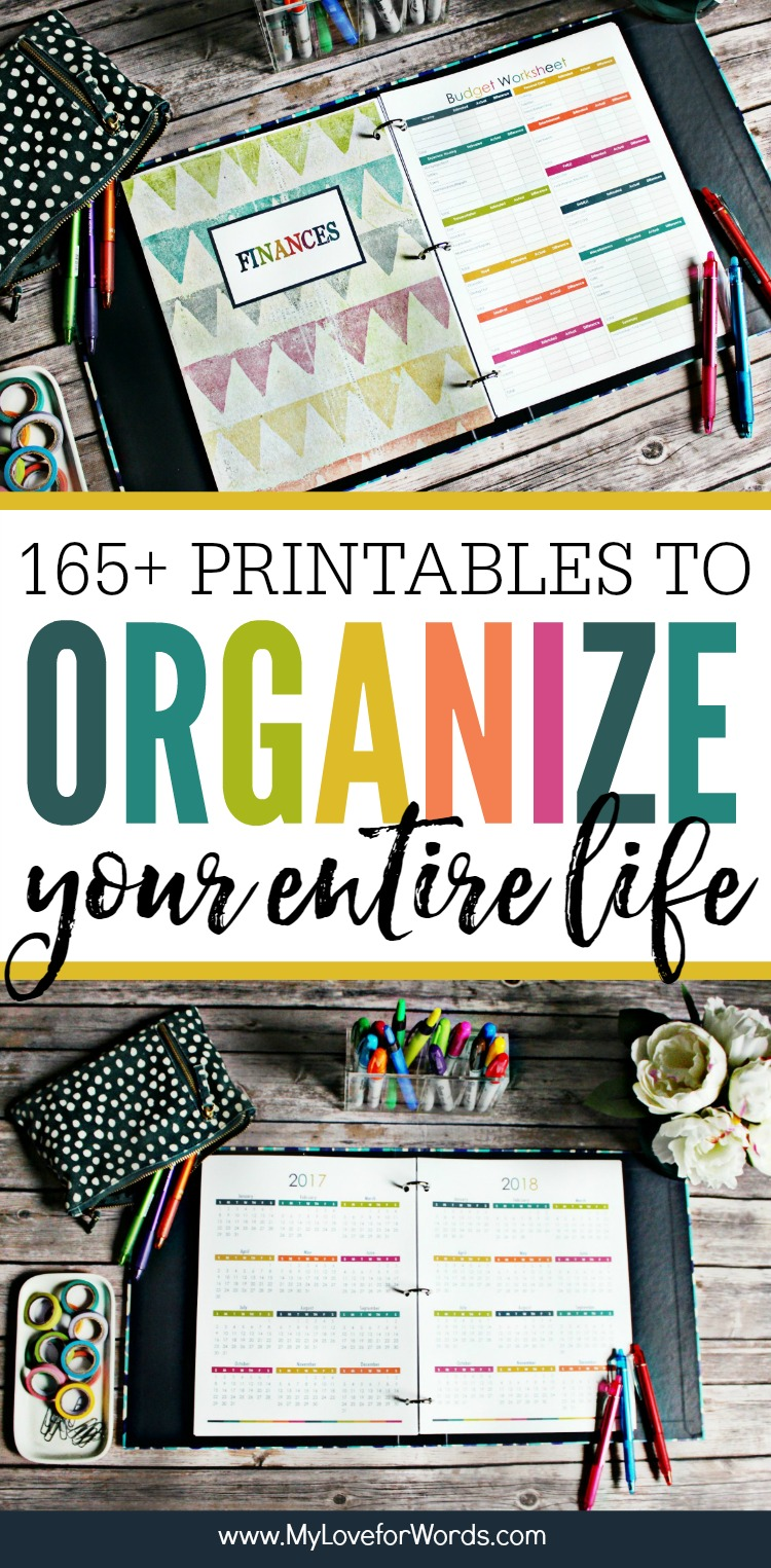 Getting organized just got easier!! This printable planner is perfect for organizing your time, daily, weekly, and monthly activities, cleaning routine, meal planning, finances, kids, pets, passwords, contacts, and more! Just about anything you'd want to schedule can be tracked and organized while reducing the paperwork floating around your home! It has more than 165 different printables and comes in both the standard letter and A5 sizes. Coordinating free printable 2017 calendars are also available on the blog.