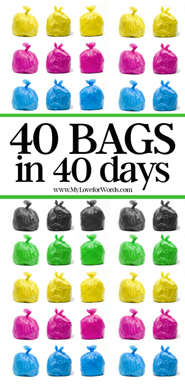 Join the annual 40 Bags in 4 Days challenge! This is a great way to get rid of the clutter and excess stuff that's currently cluttering up your home, and enjoy a cleaner, decluttered, more organized space. You can also track your progress with free printables! Here's to a more organized and peaceful home!
