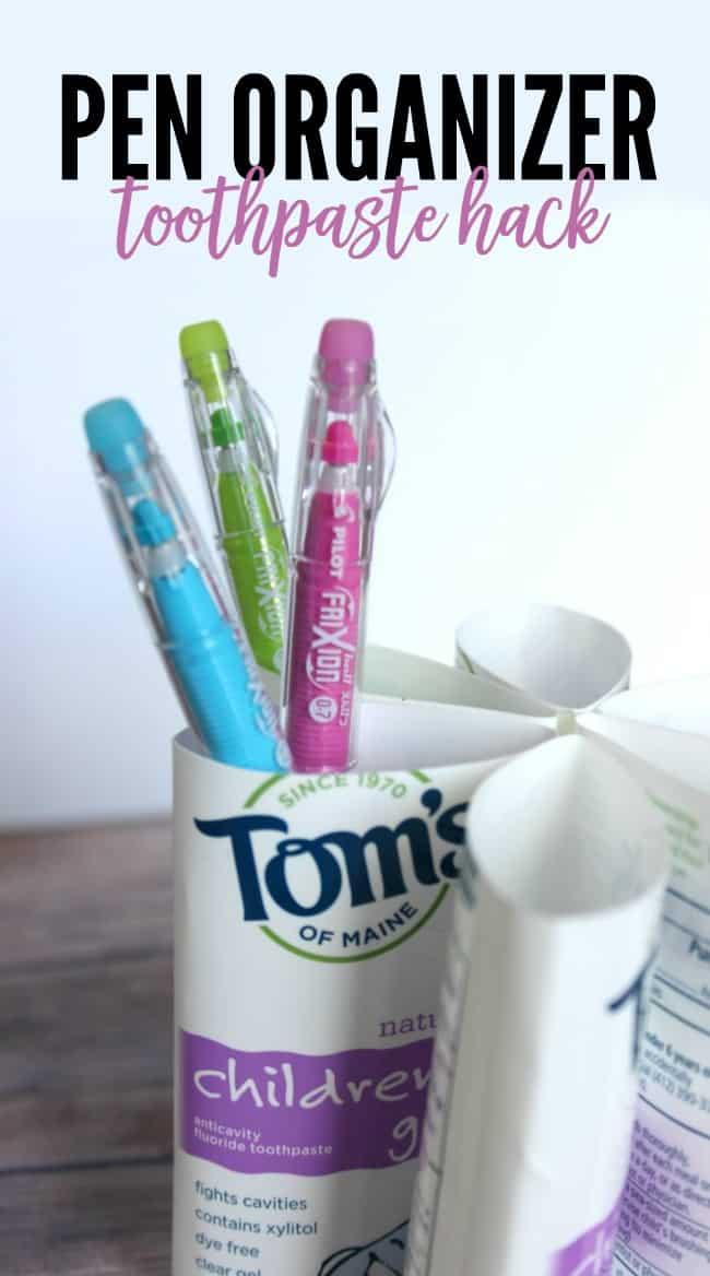 Pen organizer toothpaste hack 650x1168